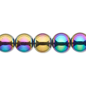 bead, glass, opaque rainbow, 9-10mm round. sold per 15-inch strand.