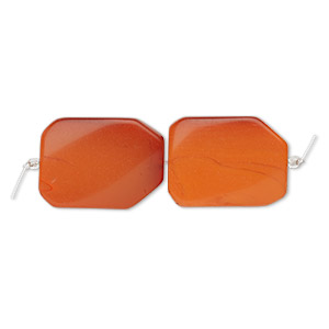 bead, glass, orange-red, 39x28mm-41x31mm twisted freeform. sold per pkg of 2.