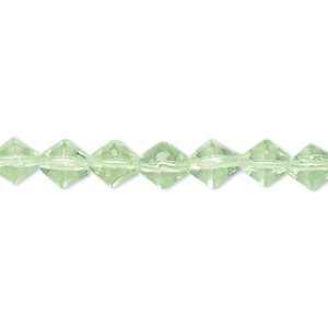 bead, glass, pale green, 5-6mm faceted bicone. sold per 12-inch strand.