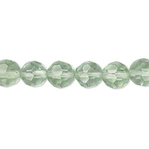 bead, glass, pale green, 7-8mm faceted round. sold per 12-inch strand. minimum 2 per order.