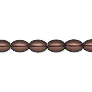 bead, glass pearl, brown, 8x6mm-9x6mm oval. sold per 15-inch strand.