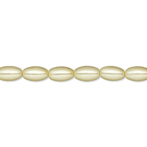 bead, glass pearl, light yellow, 7x4mm-8x5mm oval. sold per 15-inch strand.