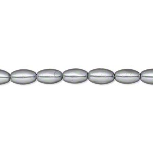 bead, glass pearl, silver, 7x4mm-8x5mm oval. sold per 15-inch strand. minimum 2 per order.