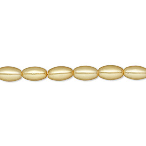 bead, glass pearl, sun yellow, 7x4mm-8x4mm oval. sold per 15-inch strand. minimum 2 per order.