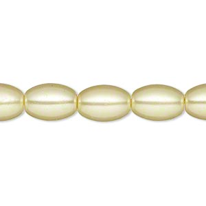 bead, glass pearl, yellow, 11x8mm oval. sold per 15-inch strand. minimum 4 per order.