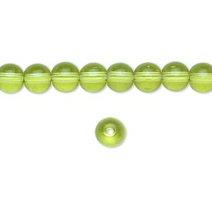 bead, glass, peridot green, 6mm round. sold per 36-inch strand.