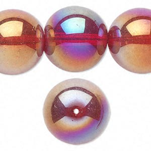 bead, glass, red ab, 20mm round. sold per 16-inch strand.