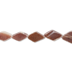 bead, glass, red-brown, 10x6mm-14x9mm hand-cut flat diamond. sold per 13-inch strand.