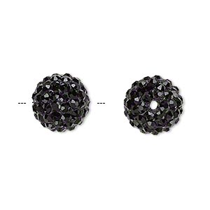 bead, glass rhinestone / epoxy / resin, black, 12mm round. sold individually.