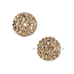 bead, glass rhinestone / epoxy / resin, champagne, 14mm round. sold individually.