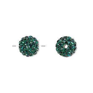 bead, glass rhinestone / epoxy / resin, dark green, 10mm round. sold individually.