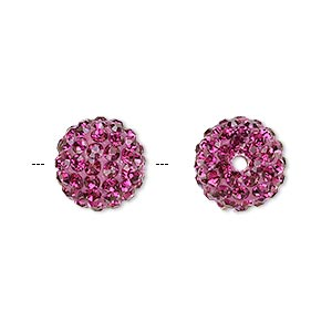 bead, glass rhinestone / epoxy / resin, fuchsia, 12mm round. sold individually.