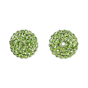 bead, glass rhinestone / epoxy / resin, green, 14mm round. sold individually.
