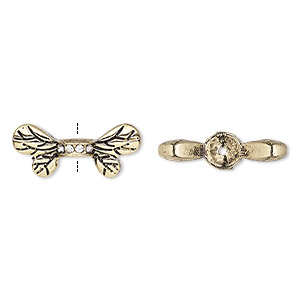 bead, glass rhinestone and antique gold-finished pewter (zinc-based alloy), clear, 22x9.5mm bee wings. sold per pkg of 2.