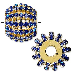 bead, glass rhinestone and gold-finished brass, cobalt, 25x20mm barrel, 6.5mm hole. sold individually.