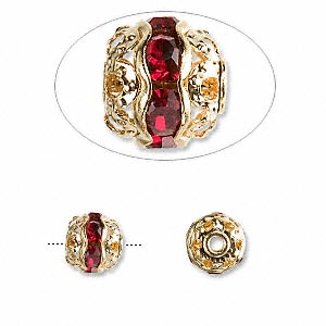 bead, glass rhinestone and gold-finished brass, garnet red, 8mm banded round. sold per pkg of 10.