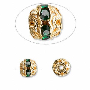 bead, glass rhinestone and gold-finished brass, green, 8mm banded round. sold per pkg of 10.