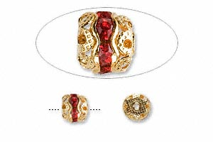 bead, glass rhinestone and gold-finished brass, red, 6mm banded round. sold per pkg of 10.