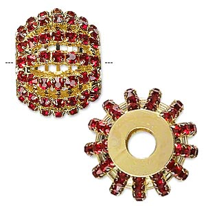 bead, glass rhinestone and gold-finished brass, ruby red, 25x20mm barrel with 3mm chatons, 6.5mm hole. sold individually.