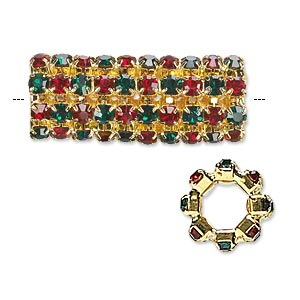 bead, glass rhinestone and gold-finished brass, ruby red and emerald green, 32x13mm cylinder, 7.5mm hole. sold individually.