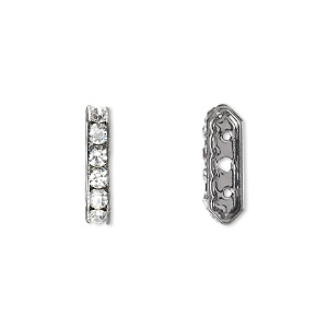 bead, glass rhinestone and gunmetal-plated brass, clear, 16x5mm 3-strand 6-sided bridge spacer. sold per pkg of 10.