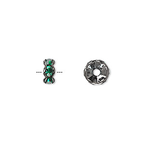 bead, glass rhinestone and gunmetal-plated brass, emerald green, 8x4mm rondelle. sold per pkg of 10.