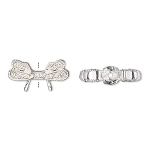 bead, glass rhinestone and silver-finished pewter (zinc-based alloy), clear, 21x11mm wings. sold per pkg of 2.