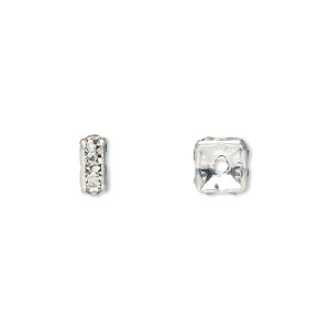 bead, glass rhinestone and silver-plated brass, clear, 6x3mm squaredelle. sold per pkg of 10.