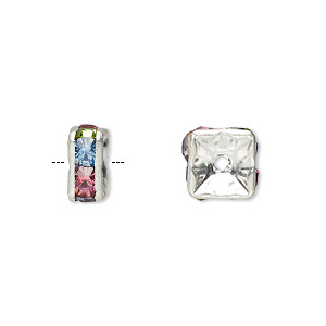 bead, glass rhinestone and silver-plated brass, multicolored light, 8x4mm squaredelle. sold per pkg of 10.