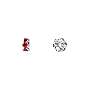 bead, glass rhinestone and silver-plated brass, red, 5x2mm rondelle. sold per pkg of 10.