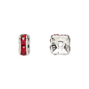 bead, glass rhinestone and silver-plated brass, red, 8x4mm squaredelle. sold per pkg of 10.