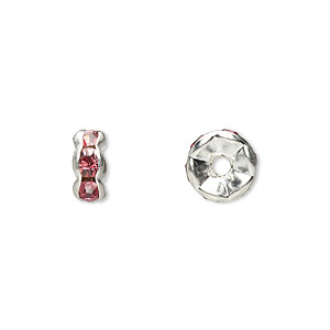 bead, glass rhinestone and silver-plated brass, rose, 8x4mm rondelle. sold per pkg of 10.
