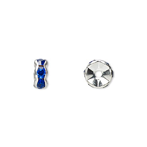 bead, glass rhinestone and silver-plated brass, sapphire blue, 7x3mm rondelle. sold per pkg of 10.