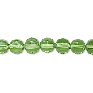 bead, glass, spring green, 7-8mm checkerboard faceted round. sold per 12-inch strand.