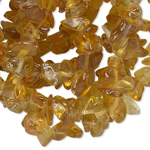 bead, glass, sun yellow, medium chip. sold per 35-inch strand. minimum 5 per order.