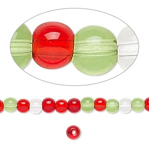 bead, glass, transparent christmas tones, 3-4mm round. sold per 36-inch strand.