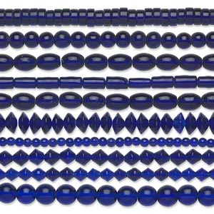 bead, glass, transparent cobalt, 5mm-11x8mm mixed shapes. sold per pkg of (10) 16-inch strands.