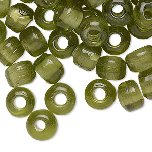 bead, glass, transparent olive green, 9x7mm crow with 3.5-4mm hole. sold per pkg of 100.