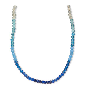 bead, glass, transparent to opaque multi-blue, 6mm round. sold per pkg of four 14-inch strands, approximately 230 beads.