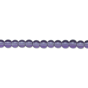 bead, glass, violet, 4mm round. sold per 36-inch strand.