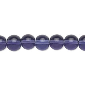 bead, glass, violet, 8mm round. sold per 36-inch strand.