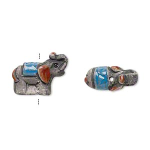 bead, glazed ceramic, dark grey/blue/red, 17x14mm hand-painted elephant. sold per pkg of 2.