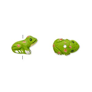 bead, glazed ceramic, multicolored, 13x8mm hand-painted toad. sold per pkg of 2.