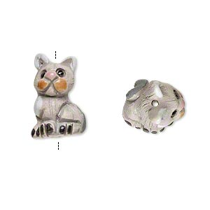 bead, glazed ceramic, multicolored, 19x14mm hand-painted cat. sold per pkg of 2.