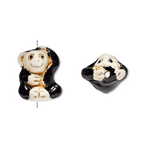 bead, glazed ceramic, tan and black, 16x12mm hand-painted monkey. sold per pkg of 2.