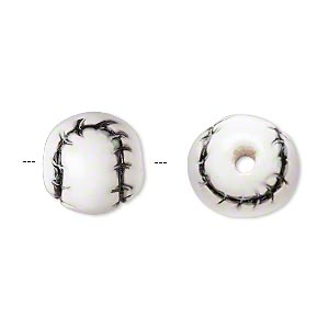 bead, glazed ceramic, white and black, 13mm hand-painted baseball. sold per pkg of 2.