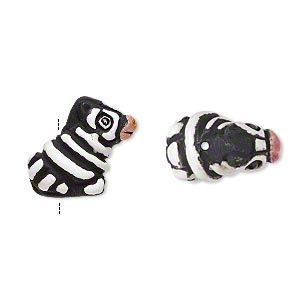 bead, glazed ceramic, white/black/pink, 15x13mm hand-painted zebra. sold per pkg of 2.