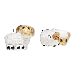bead, glazed ceramic, white/light brown/black, 15x14mm hand-painted ram. sold per pkg of 2.
