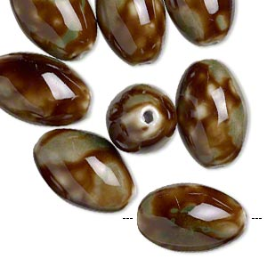 bead, glazed porcelain, brown and green, 25x16mm textured oval with 2.5mm hole. sold per pkg of 8.