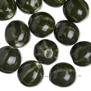 bead, glazed porcelain, dark green, 16mm corrugated round with 2.75mm hole. sold per pkg of 12.